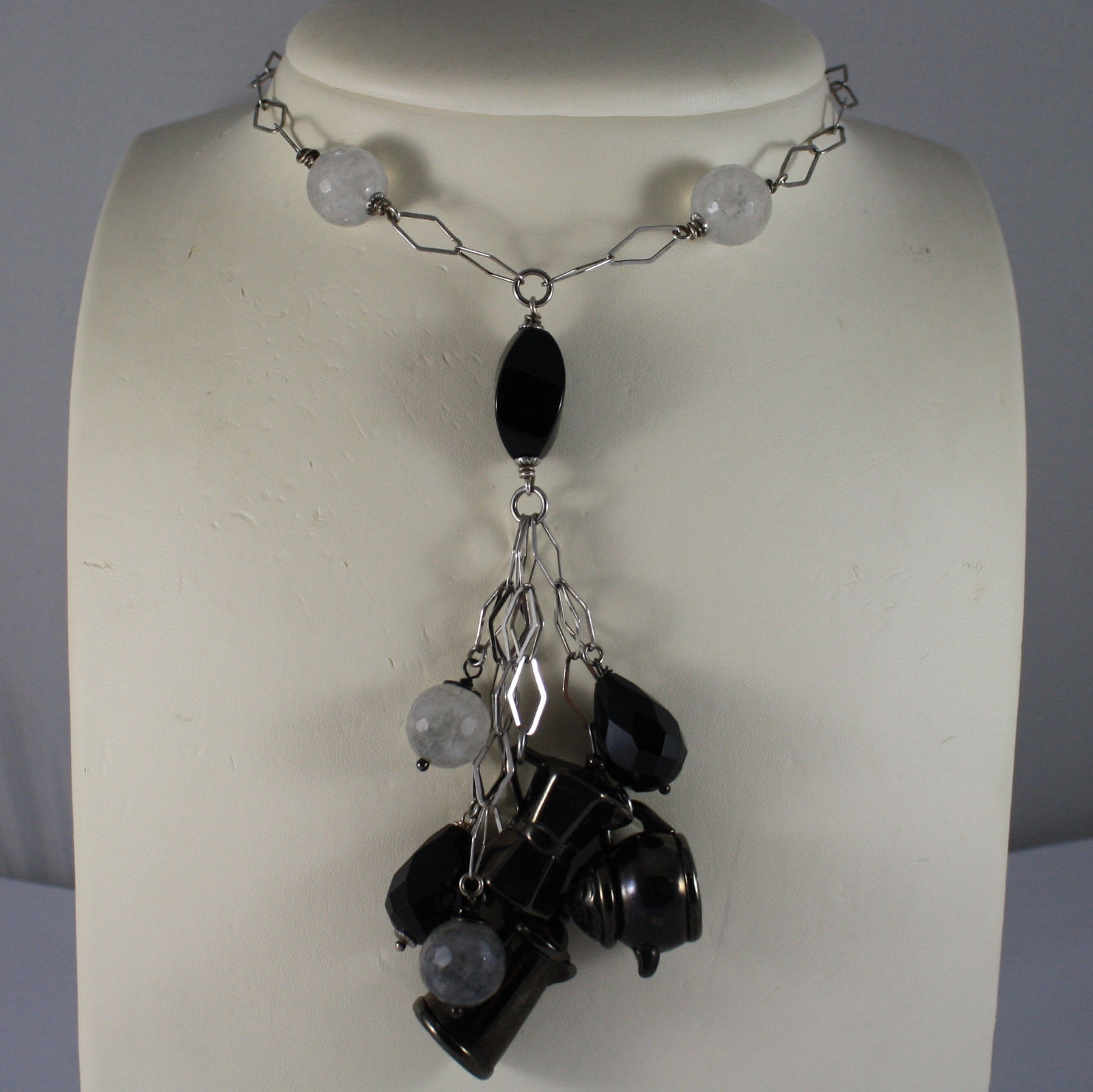 .925 RHODIUM SILVER NECKLACE WITH BLACK ONYX, GRAY QUARTZ AND BURNISHED CHARMS
