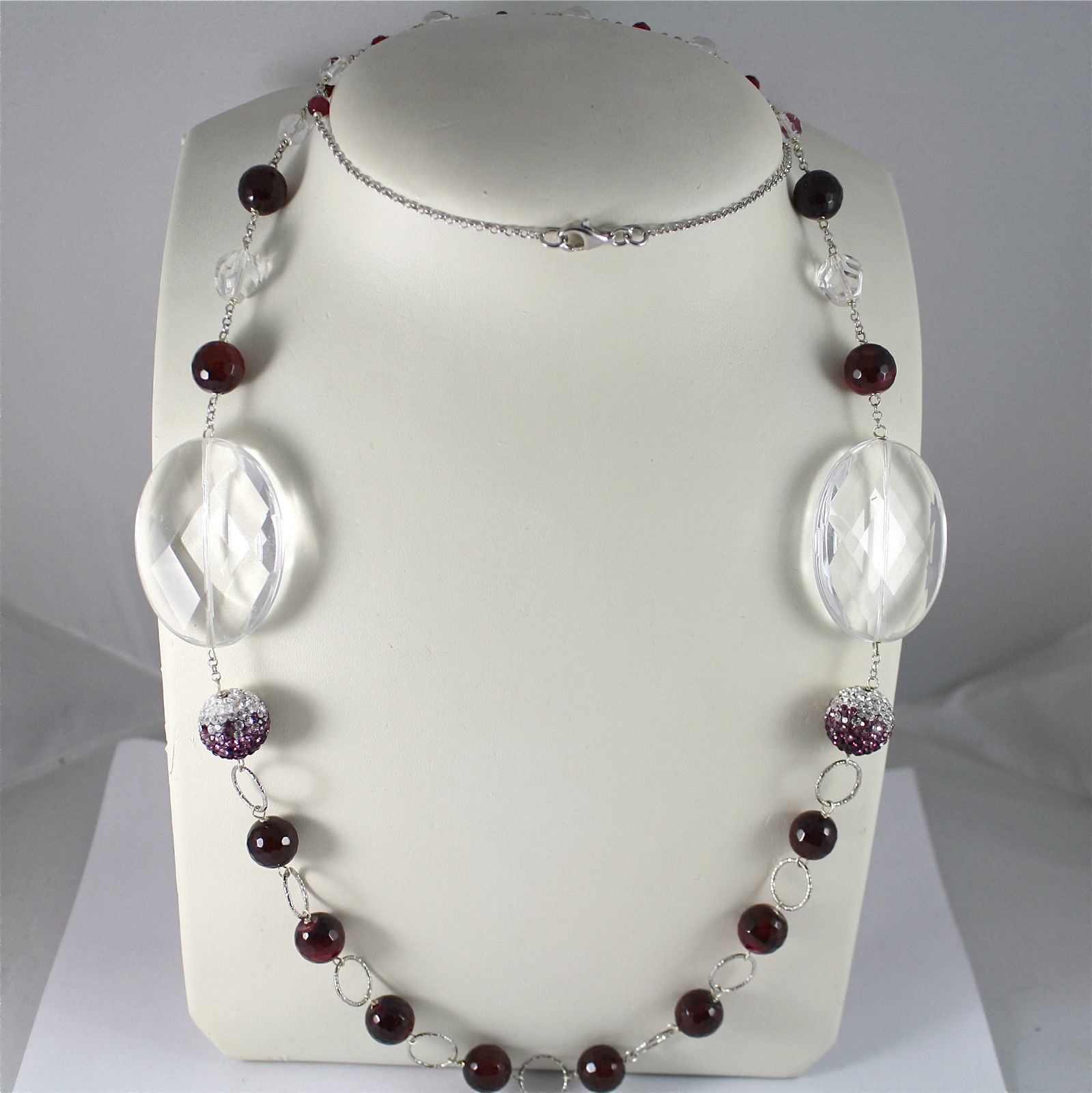 .925 SILVER NECKLACE WITH FACETED CRISTALS, IN 5 DIFFERENT SIZE, STUDDED BALLS