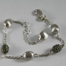 .925 RHODIUM BURNISHED SILVER BRACELET NUGGETS MARCASITE BY NANIS MADE IN ITALY