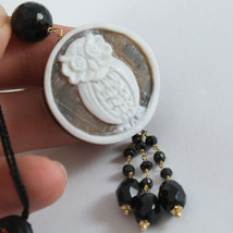 SOLID 18K YELLOW GOLD OWL PENDANT, ONYX AND MOTHER OF PEARL, MADE IN ITALY image 2