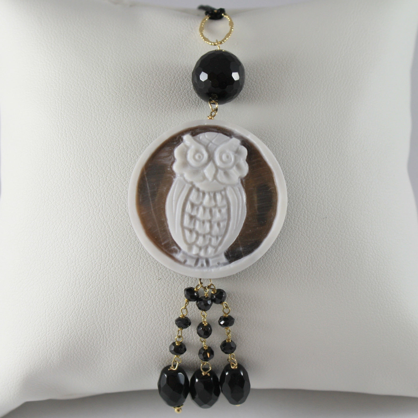 SOLID 18K YELLOW GOLD OWL PENDANT, ONYX AND MOTHER OF PEARL, MADE IN ITALY