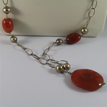 .925 SILVER RHODIUM NECKLACE 29,53 In, RED AGATE, BAROQUE PEARLS, AGATE PENDANT image 2