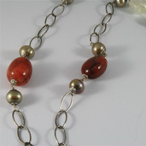 .925 SILVER RHODIUM NECKLACE 29,53 In, RED AGATE, BAROQUE PEARLS, AGATE PENDANT image 4
