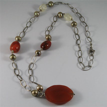 .925 SILVER RHODIUM NECKLACE 29,53 In, RED AGATE, BAROQUE PEARLS, AGATE PENDANT image 3