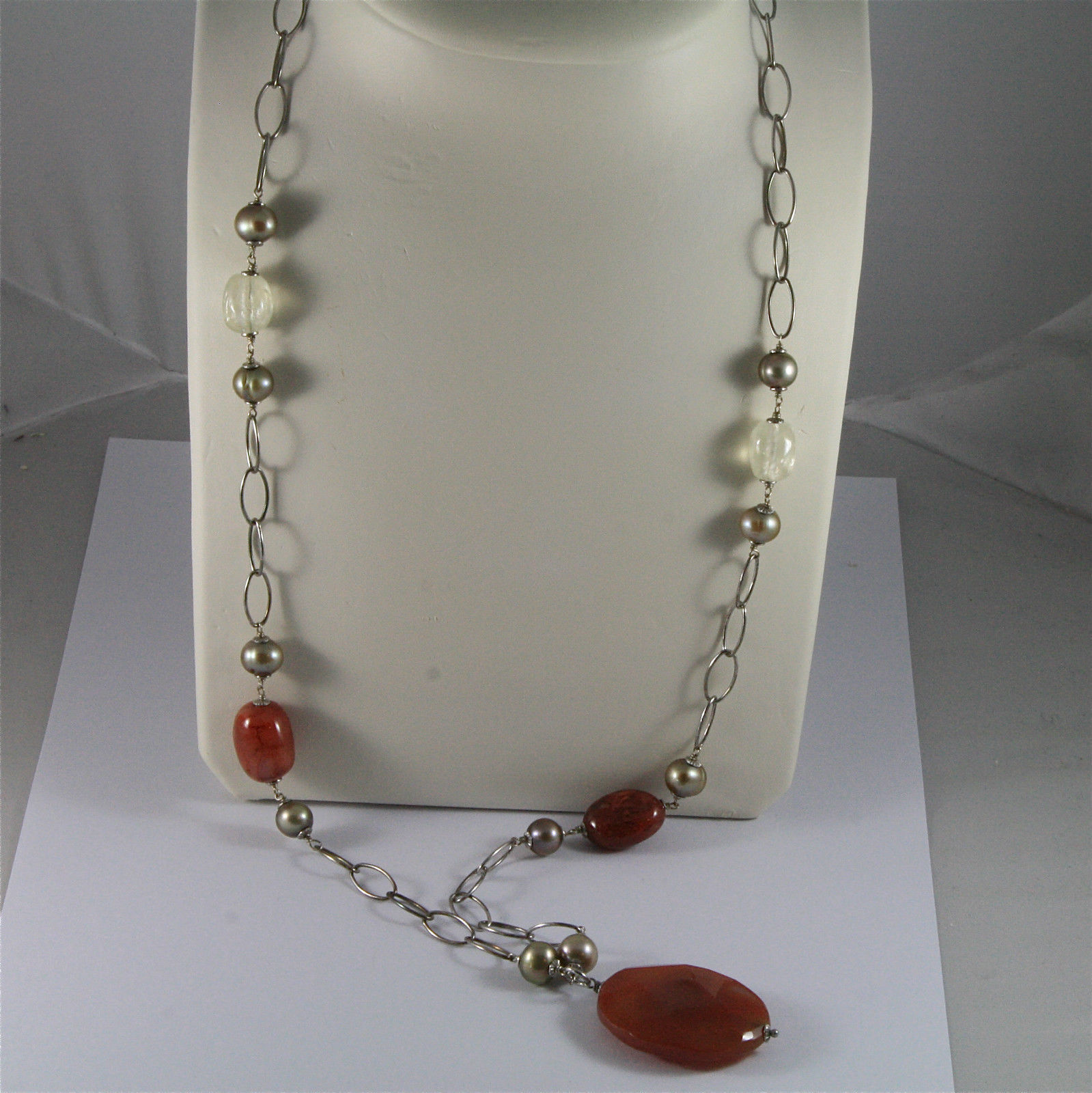 .925 SILVER RHODIUM NECKLACE 29,53 In, RED AGATE, BAROQUE PEARLS, AGATE PENDANT