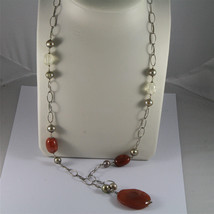 .925 SILVER RHODIUM NECKLACE 29,53 In, RED AGATE, BAROQUE PEARLS, AGATE PENDANT image 1