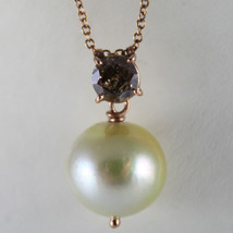 18K ROSE GOLD NECKLACE BROWN DIAMOND CT 1.07 CREAM SOUTH SEA PEARL MADE ... - $1,406.00