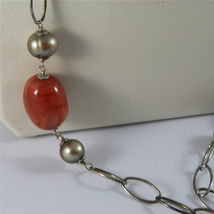 .925 SILVER RHODIUM NECKLACE 29,53 In, RED AGATE, BAROQUE PEARLS, AGATE PENDANT image 5