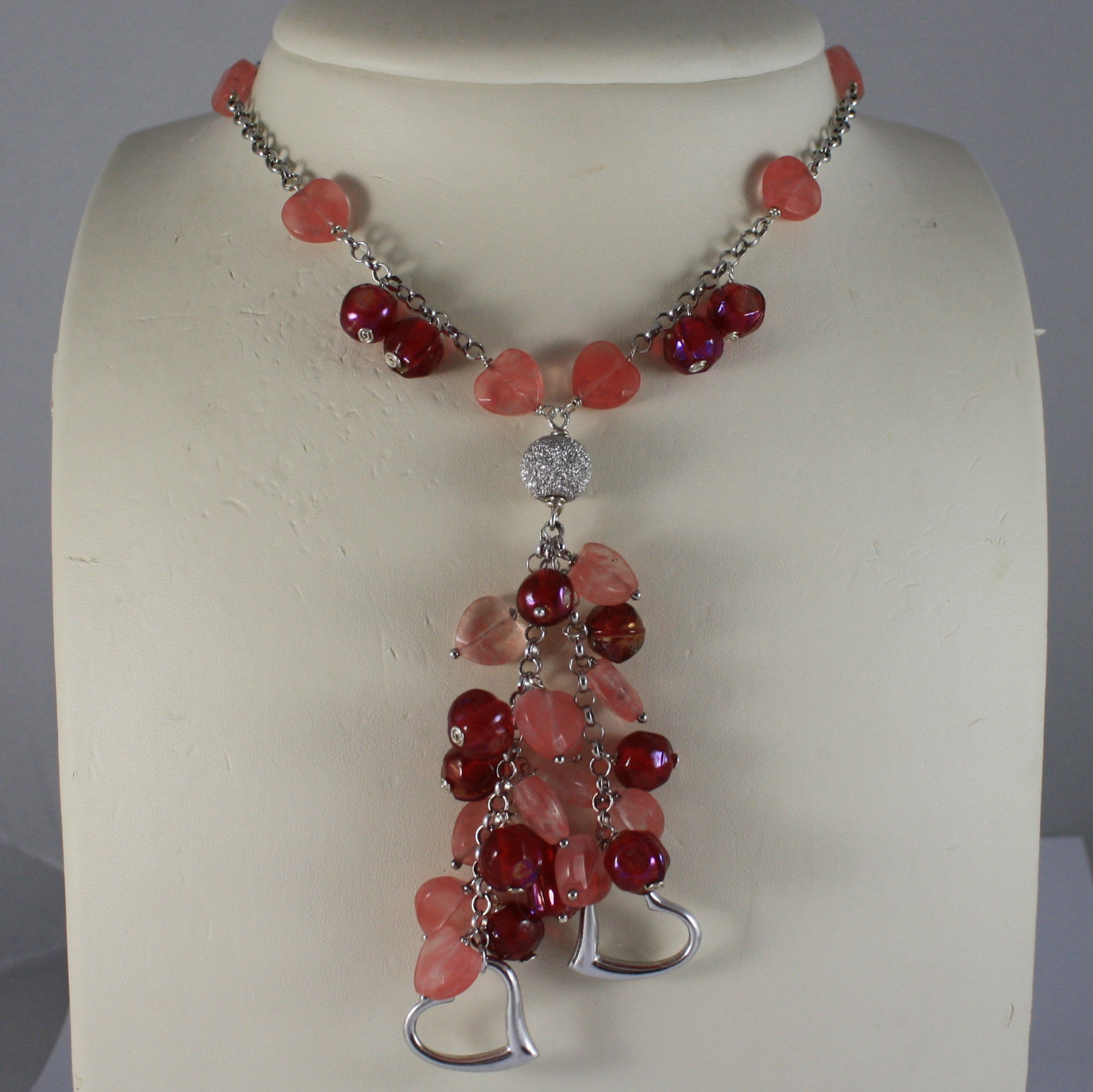.925 SILVER RHODIUM NECKLACE WITH RED GLASS, CHERRY QUARTZ AND HEART PENDANT