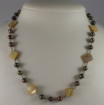.925 SILVER RHODIUM NECKLACE WITH BROWN PEARLS AND YELLOW MOTHER OF PEARL - $208.05