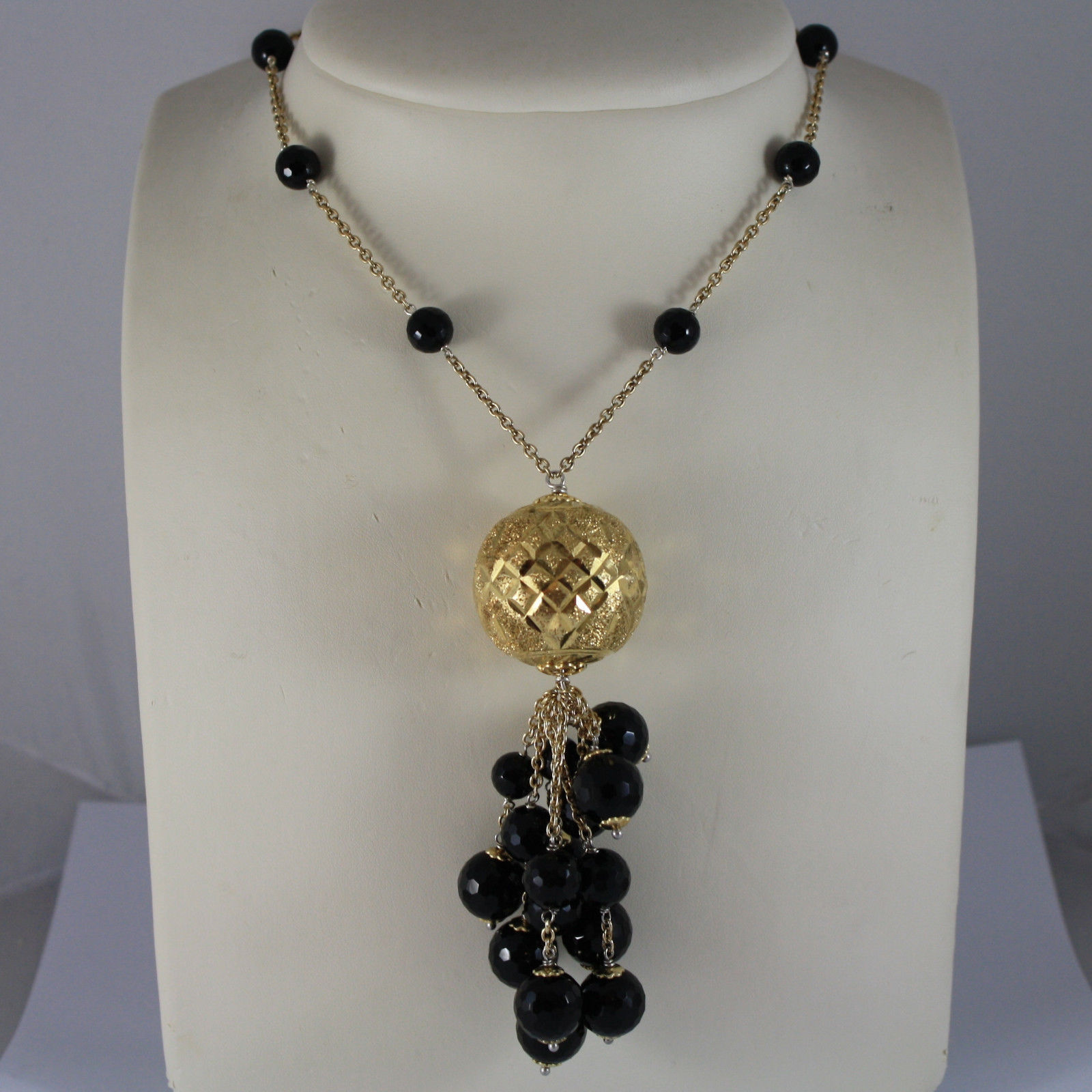 .925 RHODIUM SILVER YELLOW GOLD PLATED NECKLACE WITH BLACK ONYX AND BIG BALL