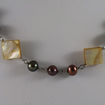 .925 SILVER RHODIUM NECKLACE WITH BROWN PEARLS AND YELLOW MOTHER OF PEARL image 3