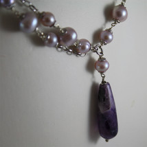 .925 RHODIUM SILVER NECKLACE, PURPLE AND ROSE PEARLS, AMETHYST PENDANT. image 3