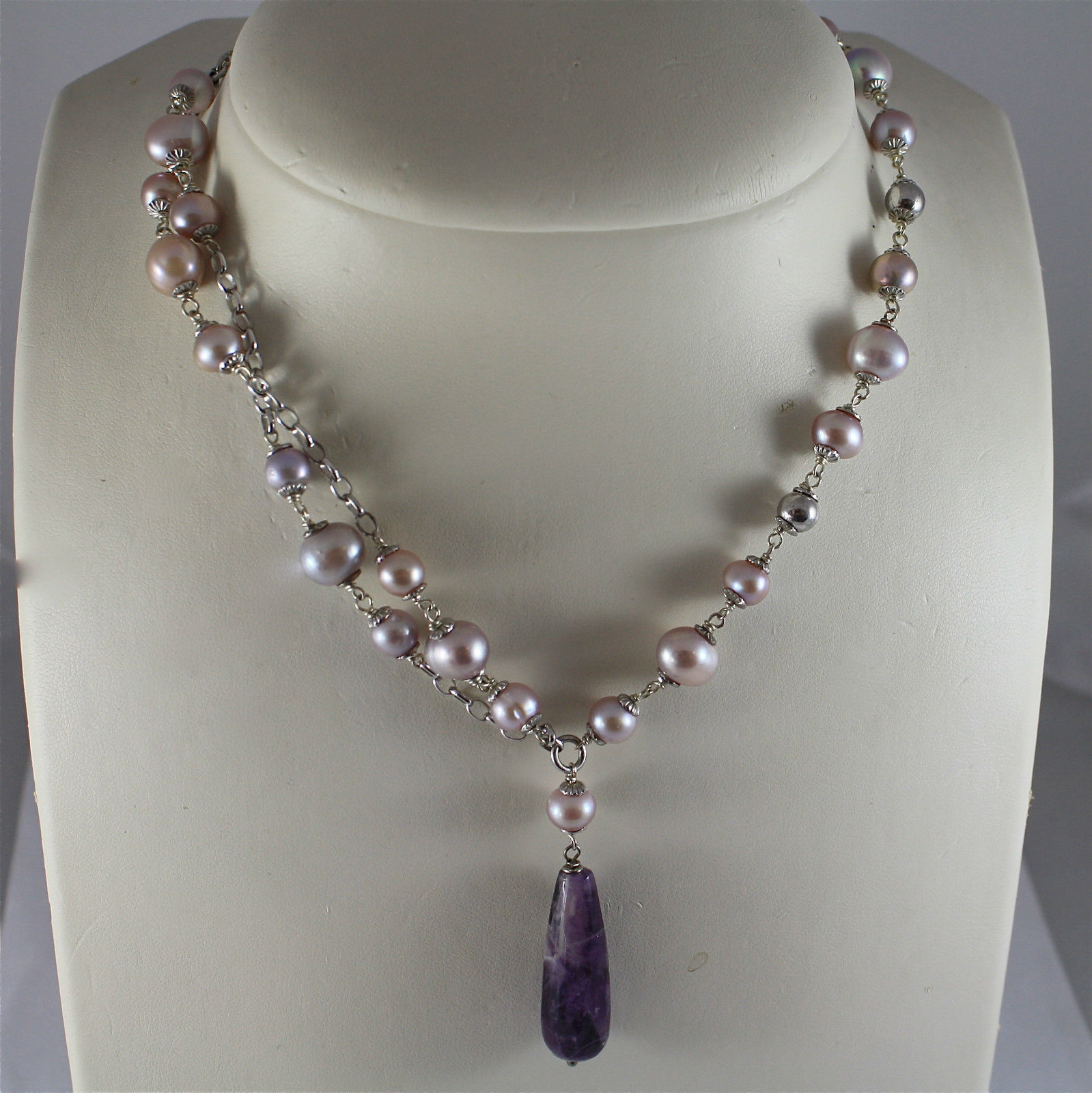 .925 RHODIUM SILVER NECKLACE, PURPLE AND ROSE PEARLS, AMETHYST PENDANT.
