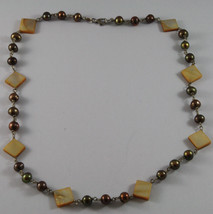 .925 SILVER RHODIUM NECKLACE WITH BROWN PEARLS AND YELLOW MOTHER OF PEARL image 2