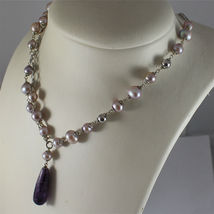 .925 RHODIUM SILVER NECKLACE, PURPLE AND ROSE PEARLS, AMETHYST PENDANT. image 5