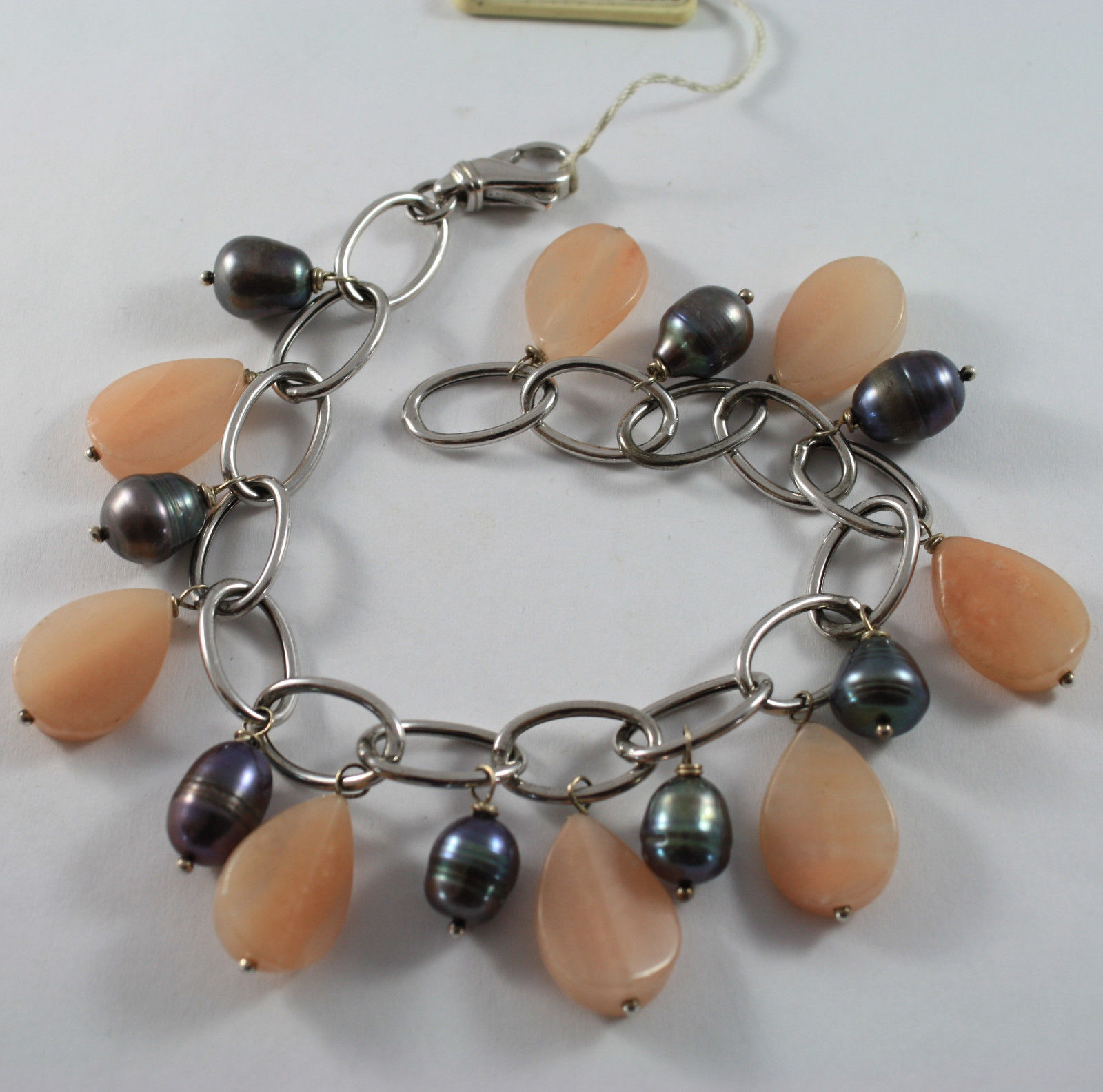 .925 RHODIUM SILVER BRACELET WITH ROSE JADE AND GRAY PEARLS