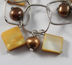 .925 RHODIUM SILVER BRACELET WITH BROWN PEARLS AND ORANGE MOTHER OF PEARL image 2