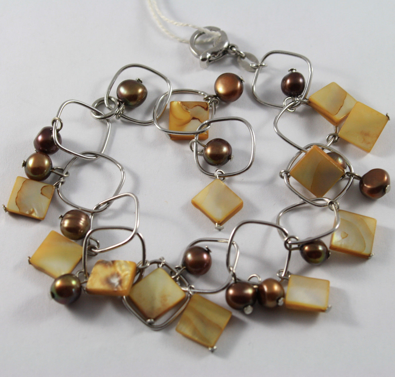 .925 RHODIUM SILVER BRACELET WITH BROWN PEARLS AND ORANGE MOTHER OF PEARL