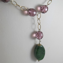 .925 RHODIUM SILVER NECKLACE, SCARF, GREEN JADE, PURPLE CRISTALS, YELLOW PLATED. image 2