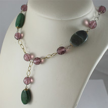 .925 RHODIUM SILVER NECKLACE, SCARF, GREEN JADE, PURPLE CRISTALS, YELLOW PLATED. image 4