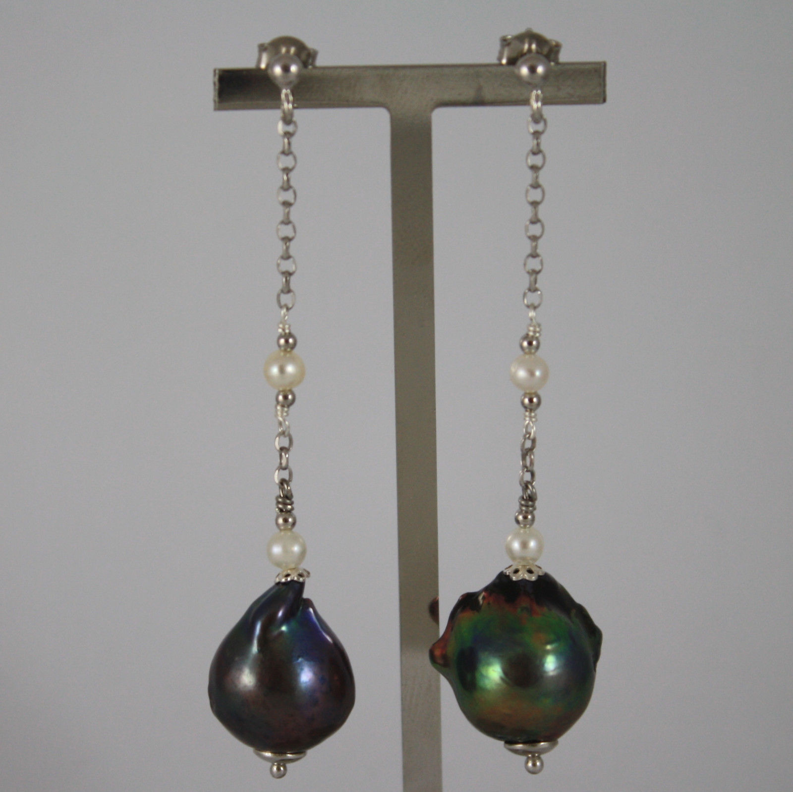 .925 RHODIUM SILVER EARRINGS WITH GRAY BAROQUE PEARL AND WHITE PEARLS