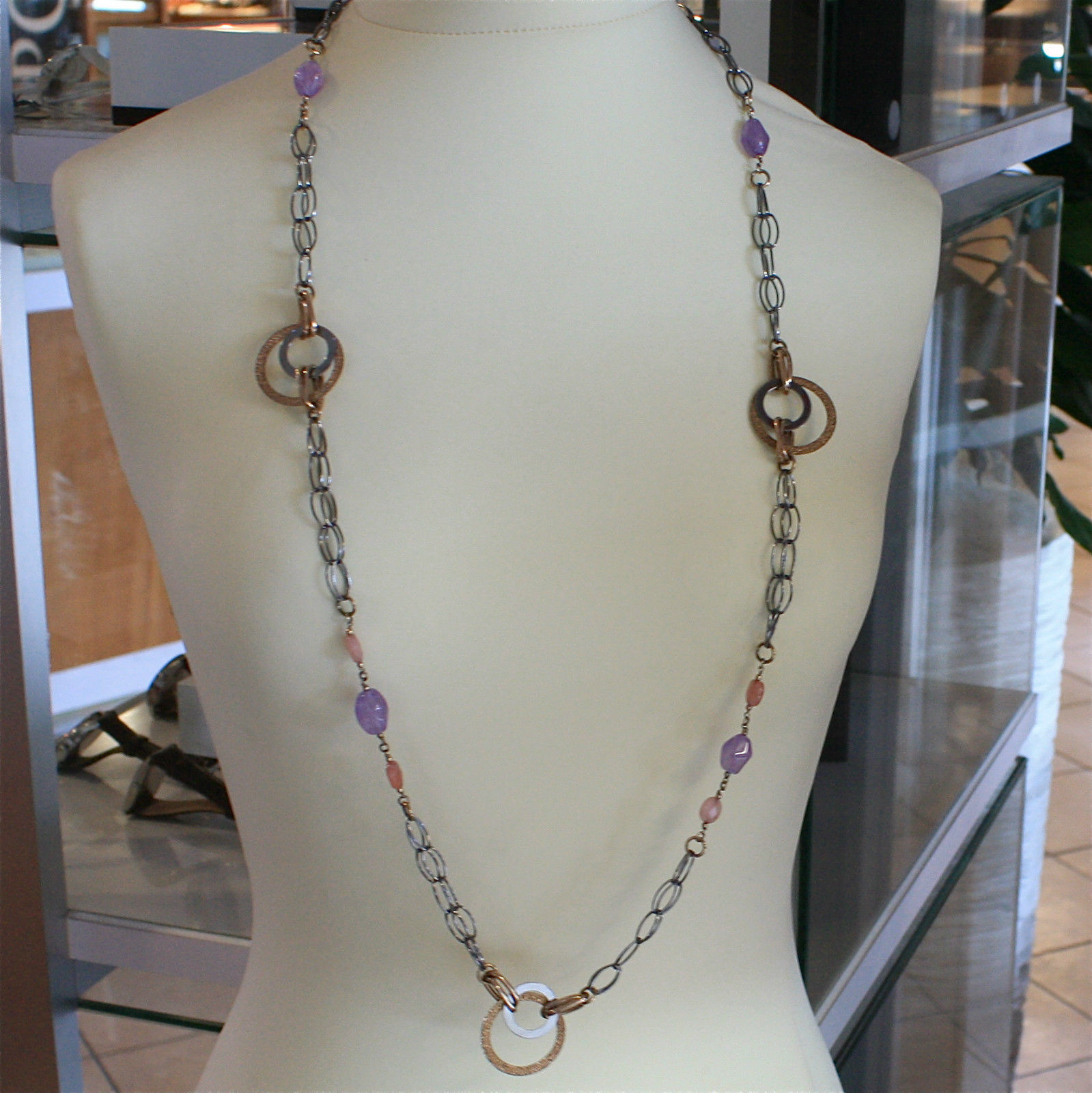 .925 RHODIUM SILVER NECKLACE, AMETHYST, JADE, BURNISHED AND ROSE PLATED MESH.