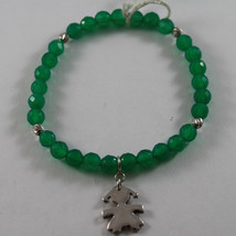 .925 RHODIUM SILVER ELASTIC BRACELET WITH GREEN CHALCEDONY AND CHARM WITH GIRL image 1