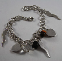 .925 RHODIUM SILVER BRACELET WITH TIGER'S EYE, BLACK ONYX , CRISTAL AND CHARMS image 1