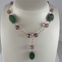 .925 RHODIUM SILVER NECKLACE, SCARF, GREEN JADE, PURPLE CRISTALS, YELLOW PLATED. image 3