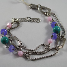 .925 RHODIUM SILVER DOUBLE WIRE BRACELET WITH TURQUOISE, AMETHYST AND QUARTZ image 1