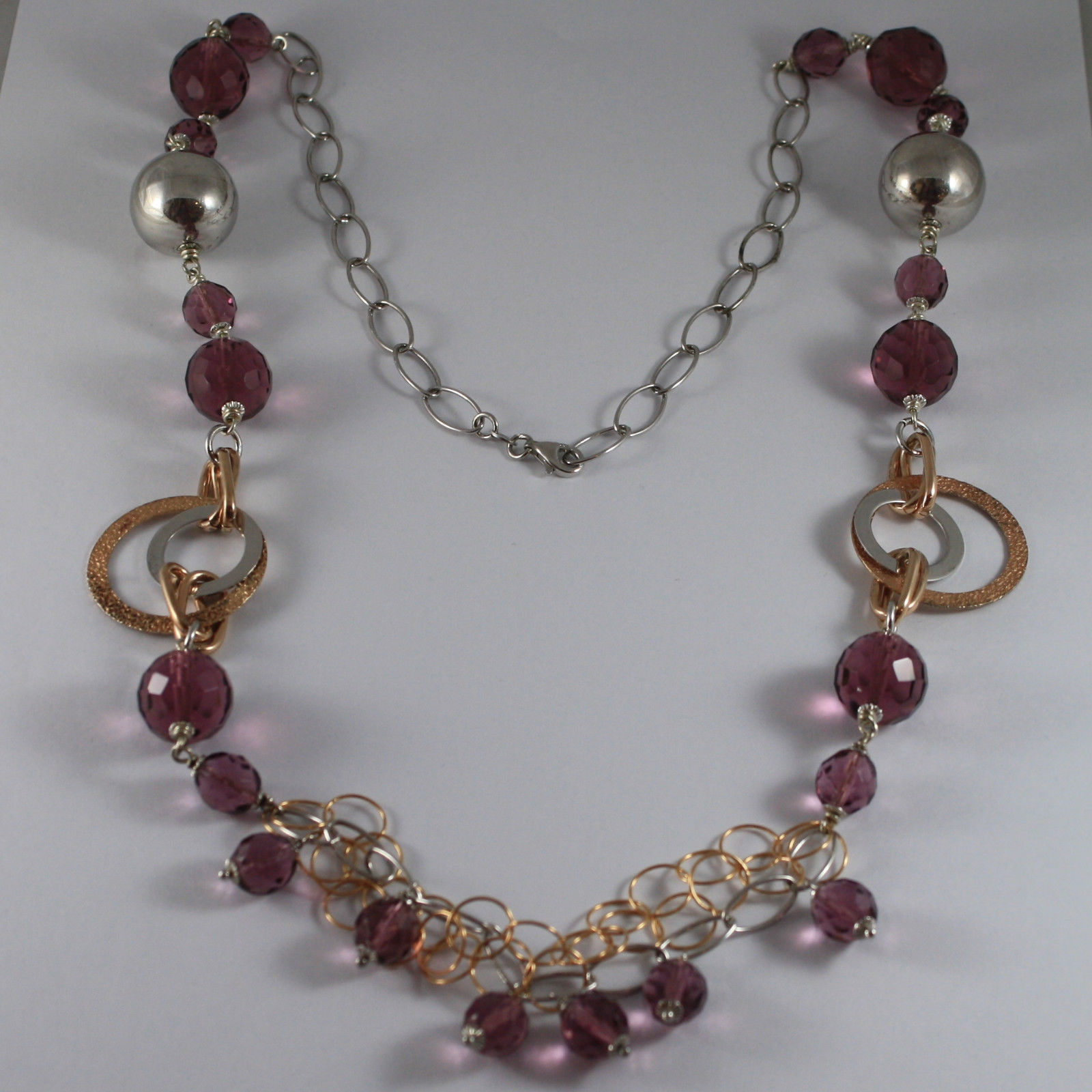 .925 RHODIUM SILVER ROSE GOLD PLATED NECKLACE WITH PURPLE FACETED CRISTALS