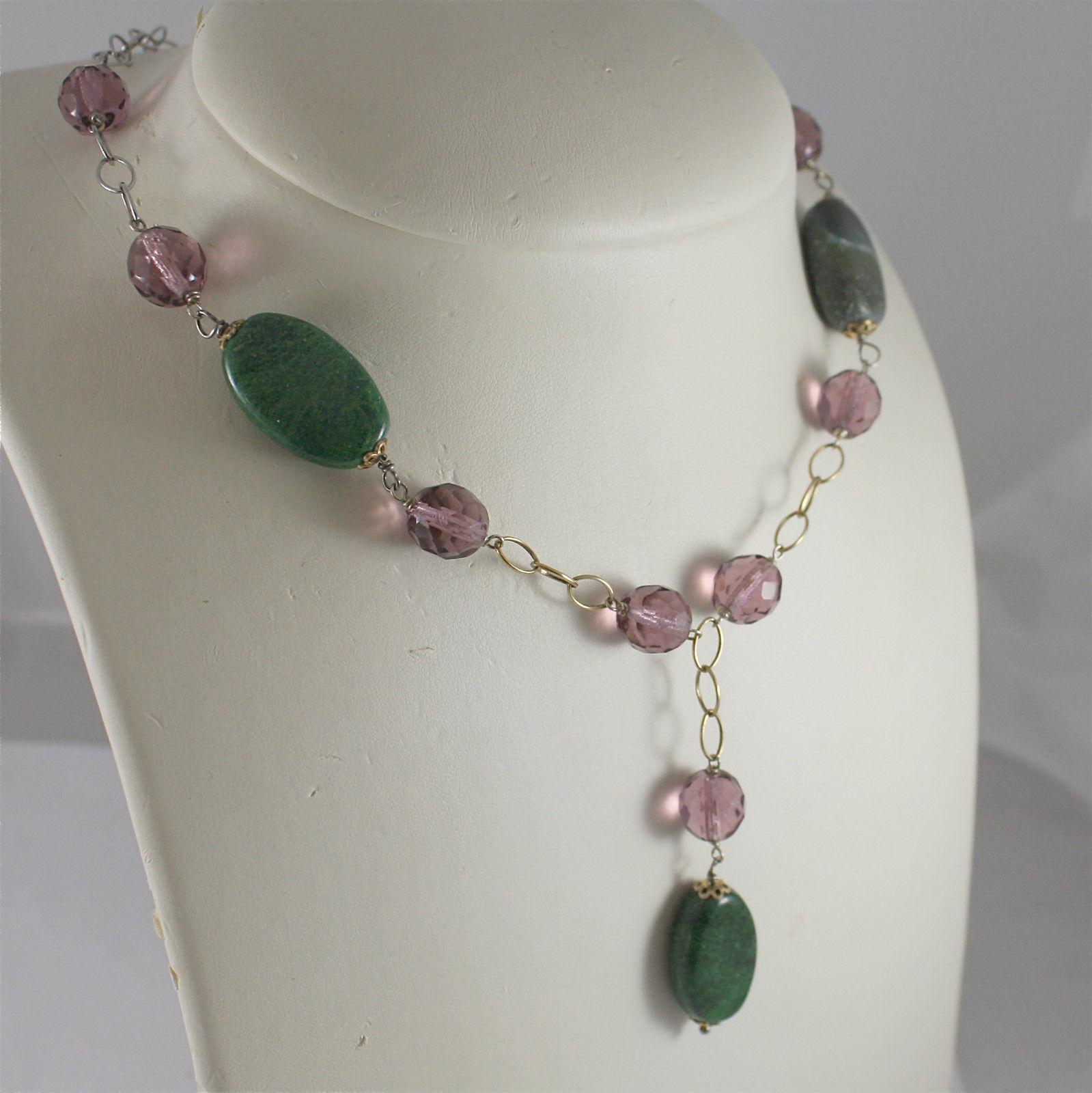 .925 RHODIUM SILVER NECKLACE, SCARF, GREEN JADE, PURPLE CRISTALS, YELLOW PLATED.