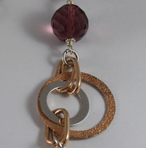 .925 RHODIUM SILVER ROSE GOLD PLATED NECKLACE WITH PURPLE FACETED CRISTALS image 3