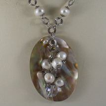 .925 SILVER RHODIUM NECKLACE WITH WHITE PEARLS, CRYSTALS AND MOTHER OF PEARL image 3