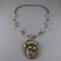 .925 SILVER RHODIUM NECKLACE WITH WHITE PEARLS, CRYSTALS AND MOTHER OF PEARL image 2