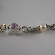 .925 SILVER RHODIUM NECKLACE WITH WHITE PEARLS, CRYSTALS AND MOTHER OF PEARL image 4