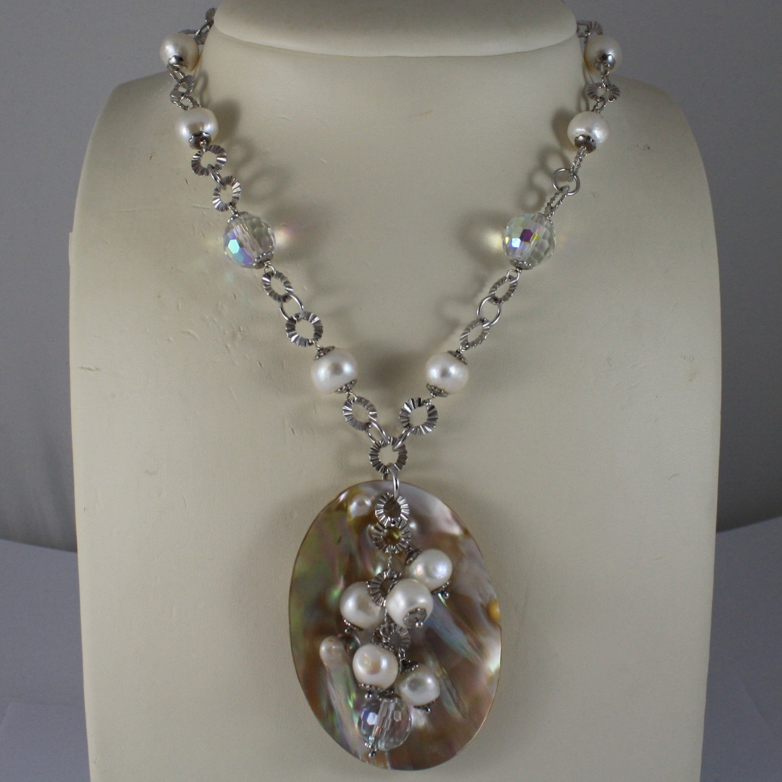 .925 SILVER RHODIUM NECKLACE WITH WHITE PEARLS, CRYSTALS AND MOTHER OF PEARL