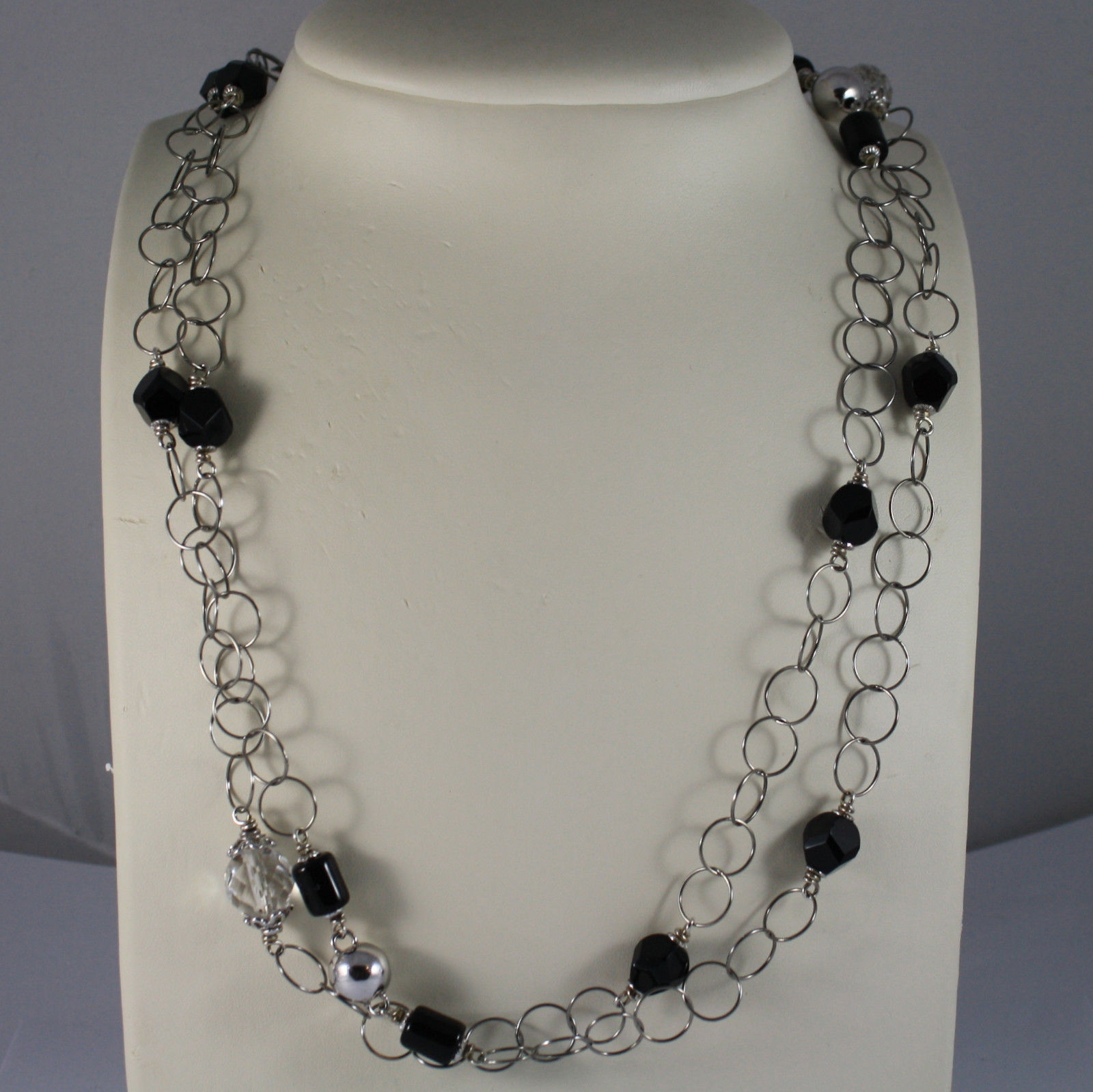 .925 RHODIUM SILVER LONG NECKLACE WITH BLACK ONYX AND TRANSPARENT CRYSTALS