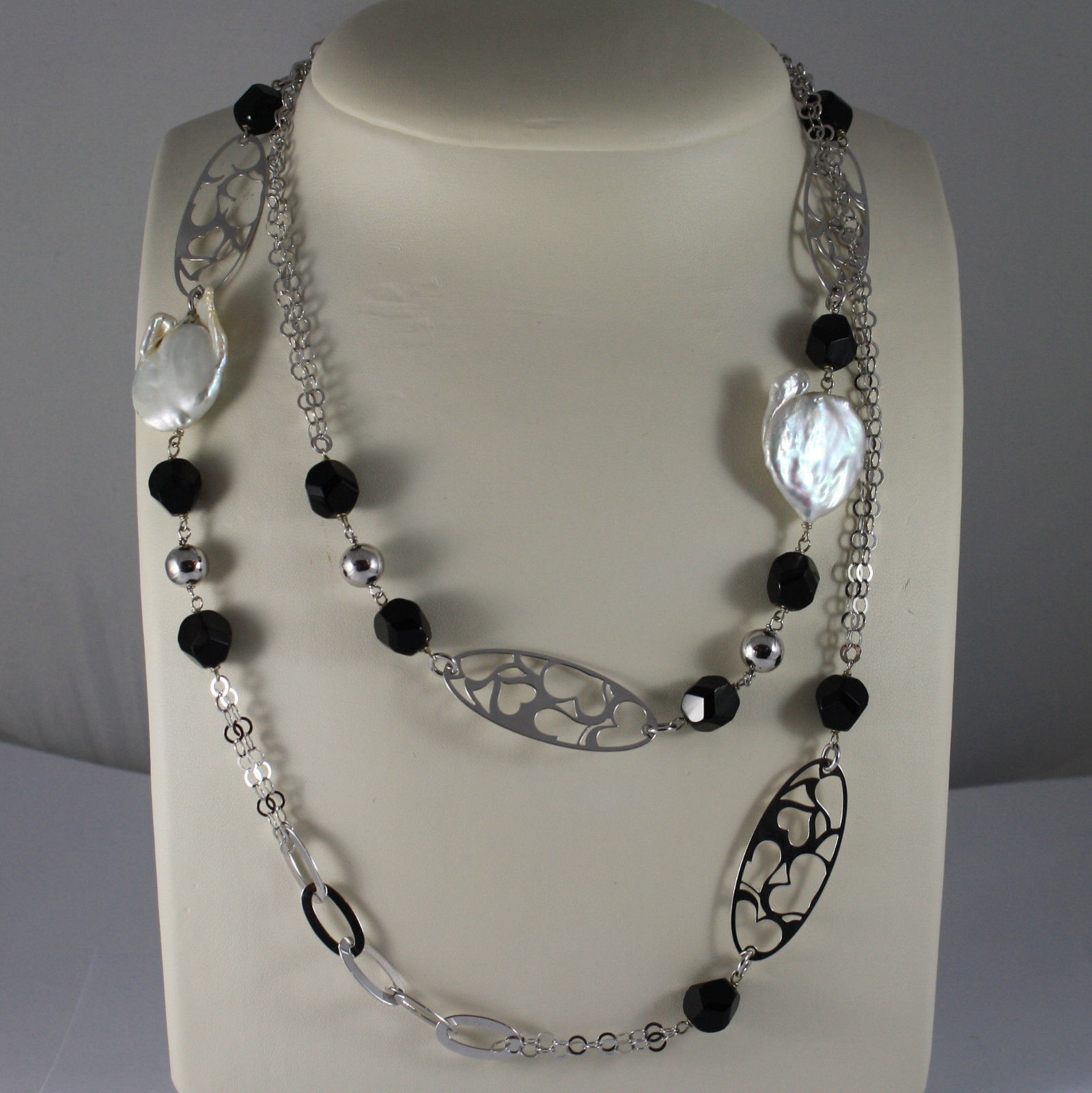.925 RHODIUM SILVER NECKLACE WITH BAROQUE WHITE PEARLS AND BLACK ONYX