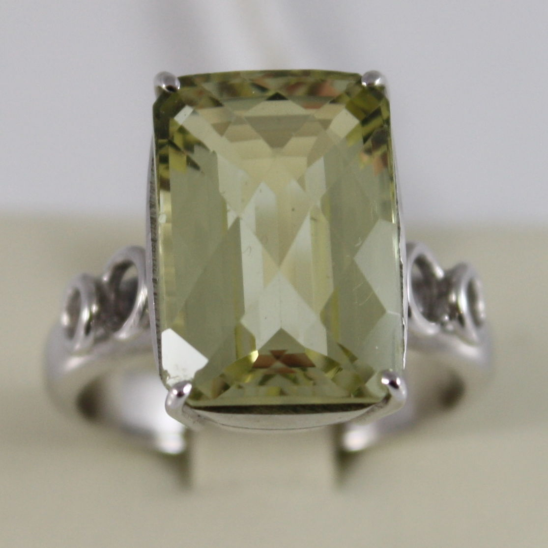18K WHITE GOLD AND BIG LEMON QUARTZ RING MADE IN ITALY CARATS 9.5 CUSCION CUT