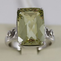 18K WHITE GOLD AND LEMON QUARTZ RING MADE IN ITALY CARAT 9.5 CUSCION CUT