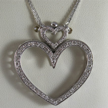 SOLID 18K WHITE GOLD NECKLACE, DOUBLE BIG HEART DIAMONDS, DIAMOND MADE IN ITALY