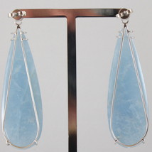 18K WHITE GOLD DROP EARRINGS, DIAMOND CT 0.16, AQUAMARINE CT 51.00 MADE IN ITALY image 2