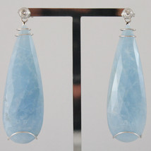 18K WHITE GOLD DROP EARRINGS, DIAMOND CT 0.16, AQUAMARINE CT 51.00 MADE IN ITALY
