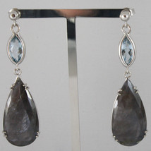 18K WHITE GOLD DROP EARRINGS, AQUAMARINE CT 2.50 SAPPHIRE CT 29.50 MADE IN ITALY image 1
