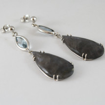 18K WHITE GOLD DROP EARRINGS, AQUAMARINE CT 2.50 SAPPHIRE CT 29.50 MADE IN ITALY image 3