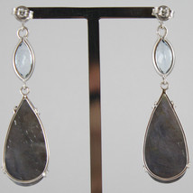 18K WHITE GOLD DROP EARRINGS, AQUAMARINE CT 2.50 SAPPHIRE CT 29.50 MADE IN ITALY image 2
