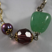 .925 RHODIUM SILVER AND YELLOW GOLD PLATED BRACELET WITH GREEN JADE, AMETHYST image 2