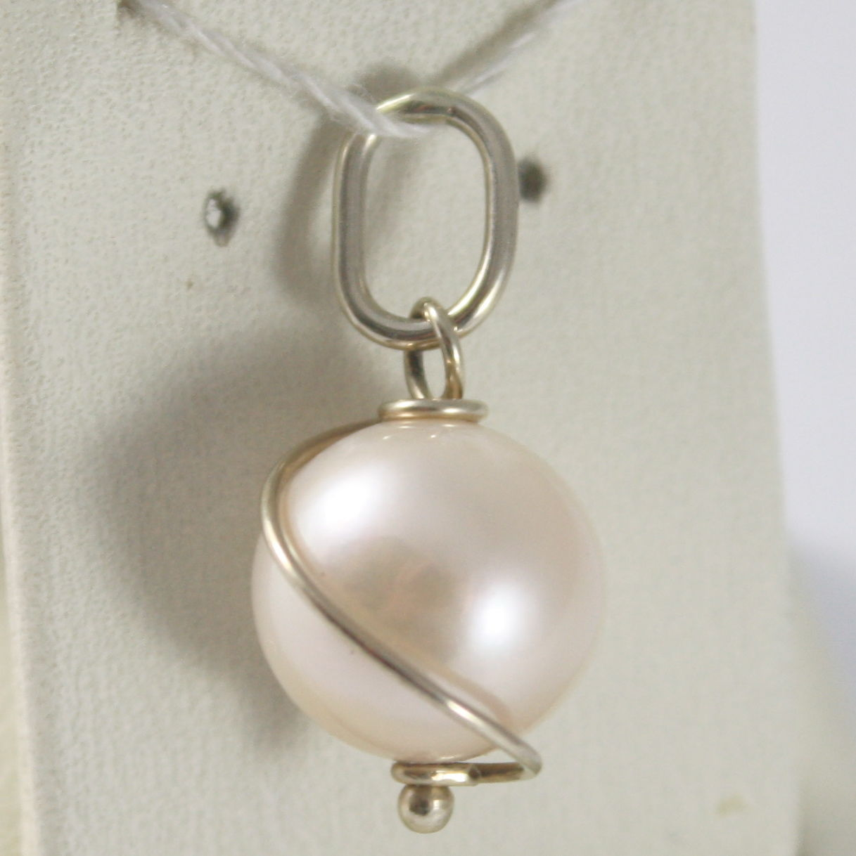SOLID 18K WHITE ROUGH GOLD SPIRAL PENDANT WITH ROUND PINK PEARL, MADE IN ITALY